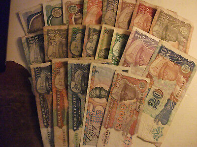 Lot of 20 Zaire Africa world foreign banknotes