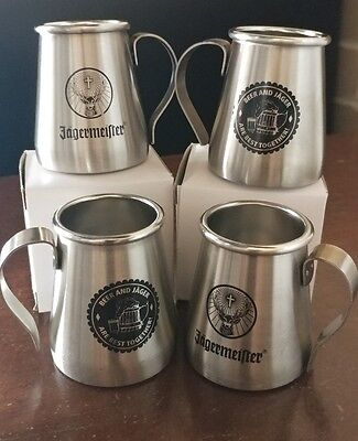 """""""4"""" Jagermeister Stainless Steel Shot Glass -Metal- Perfect w/ Beer & Shot! NEW"""