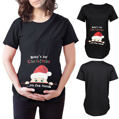 New Ladies Pregnancy T-shirt Short Sleeve Christmas Print Maternity Pullover Top
