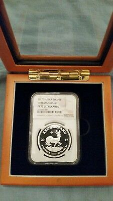 2017 silver PROOF krugerrand NGC PF70 W/ Custom Solid Wood Display Case