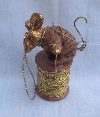 Department 56 Vintage Christmas Ornament PINE CONE MOUSE on Gold Thread Spool