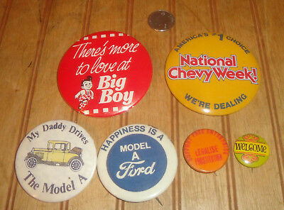 Lot of Vintage Pinback Buttons Ford, Chevy, Big Boy, Legalise Prostitution etc.