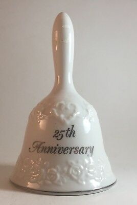 25th Anniversary Bell Papel of Reelance Bone China Silver on White