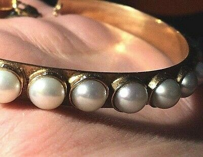 "Last time! REDUCED! Antique 14Kt Rose Gold Cuff Pearl Bracelet 8.5"" HEAVY 26.5g"