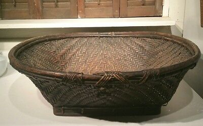 Old Rare Large African (?) Tribal Hand Made Basket From Africa(?)