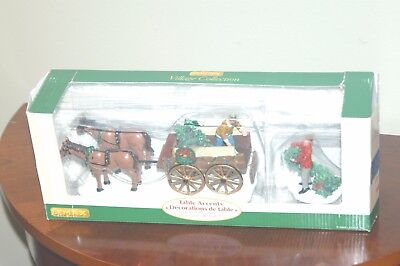 Lemax Table Accents Christmas Decoration Horse and Wagon With Christmas Tree