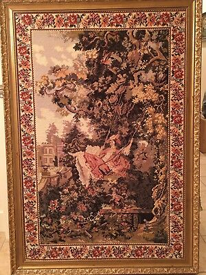 "Monumental Needlepoint Antique Tapestry Fragonard ""The Swing"" French Aubusson"
