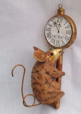 Department 56 Vintage Christmas Ornament PINE CONE MOUSE on Clock Key TIC TOC