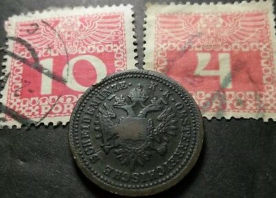 1851-A Copper Austria 1 Kreuzer Coin & Austrian Empire stamp lot set