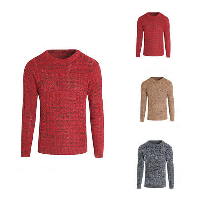 AU Mens Long Sleeve Crew Neck Ribbed Chunky Knitted Pullover Sweater Jumper