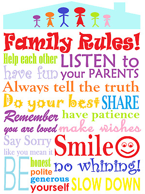 Family Rules happiness love Home decor wall high quality Canvas print art gift