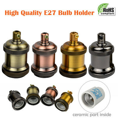 E27 Retro Vintage Lamp Holder Screw Thread Light Socket Antique Metal UK Lights