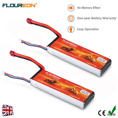2Pc 2S 30C 7.4V 4000mAh LiPo Battery Deans for RC Cars Helicopter Airplane Drone