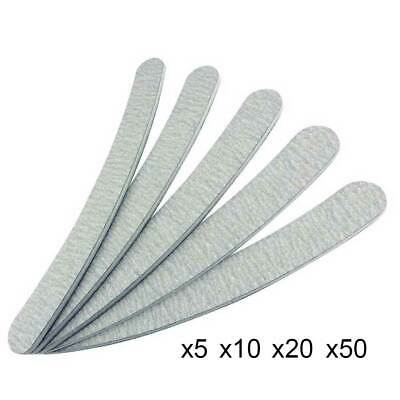 Double Sided Curved Nail Files Manicure Tools Kit 100/180 Grit Emery Board Grey