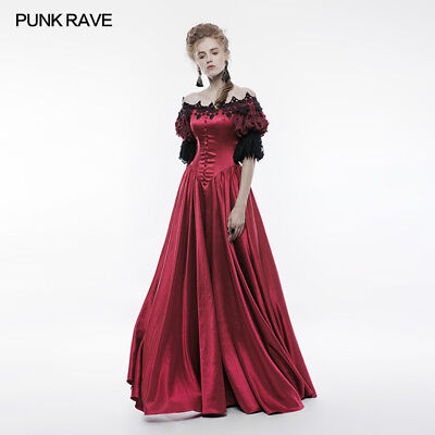 Punk Rave Red Victorian Vintage Palace Ball Gown Christmas Party Regency Dress