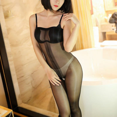 Bodysuit Playsuit Body offen Pantyhose SCHWARZ Black transparent unisex Glänzend