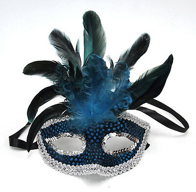 FEATHER MASK, Blue/Silver, handmade