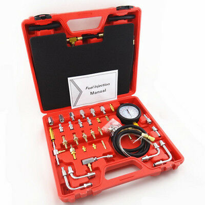 140 PSI Fuel Injection Pressure Tester Gauge Kit Gasoline Test Tool Manometer