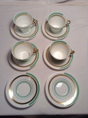 Art Deco Shelley Regent Shape Bands And Lines Gold/green Cups Saucers Vintage
