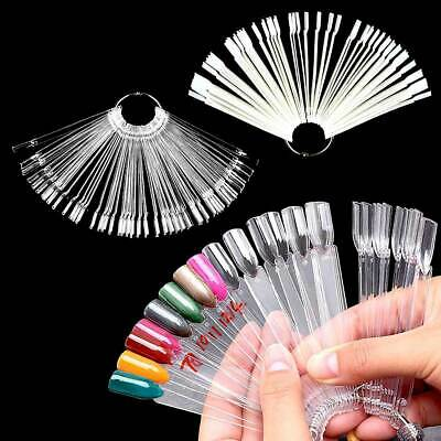 50pcs Polish Nail Art Tips Pop Train False Sticks Display Fans Manicure Practice