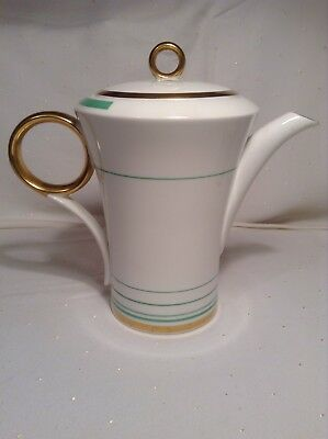 Art Deco Shelley Regent Shape Bands And Lines Gold/green Coffee Pot Vintage