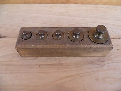 Antique Old Brass & Timber Scale Weights, In Timber Stand (A801)