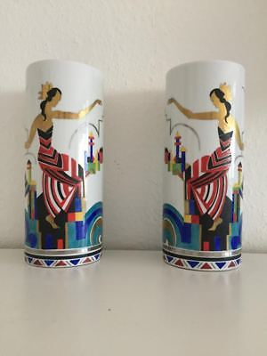 Russian Avantgarde, Pair Porcelain Vases, signed and date 1922