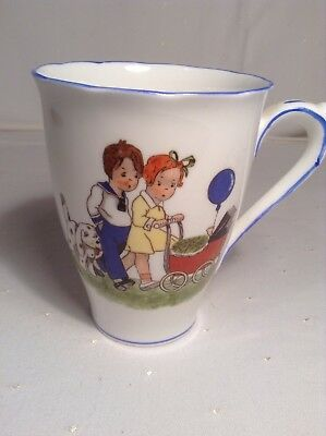 Vintage Royal Albert China Mug Mabel Lucie Attwell Style Children And Dog