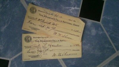 Set of 2 The Brasher Falls New York National Bank Canceled Checks 1923