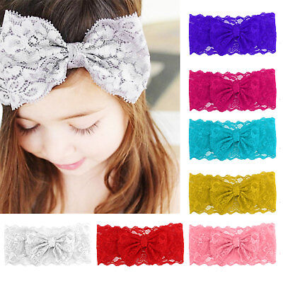 Hot Baby Girl Headband Soft Lace Bow Elastic Band Hairband Kids Hair Accessories