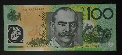 (Unc) 2014 $100 AA First Prefix - AA14 650747 - Perfect Condition Banknote