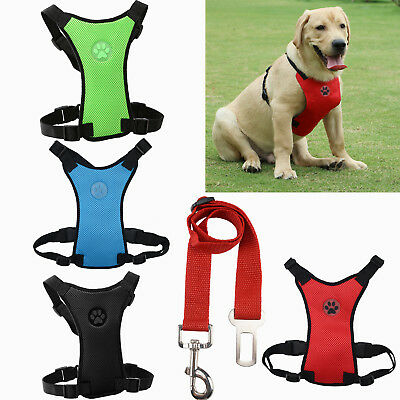 Air Mesh Puppy Pet Dog Car Harness & Seatbelt Clip Lead Safety for Dogs Travel