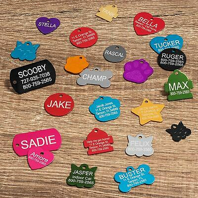 Aluminum Pet ID Tags Free Engraving 8 shape available 9 Colors Dog & Cat Tag