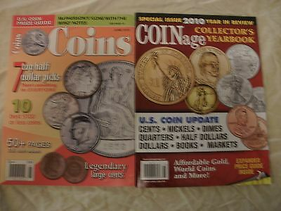 2 Price Guide Magazine Back Issue: COINS & COINage Dollar Large Cent Coin Gold