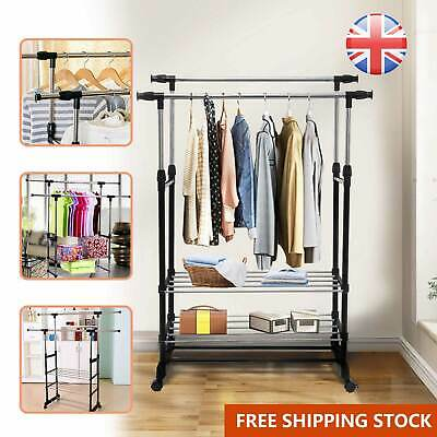 Adjustable Clothes Rail Garment Coat Hanging Display Stand Shoe Rack On Wheels