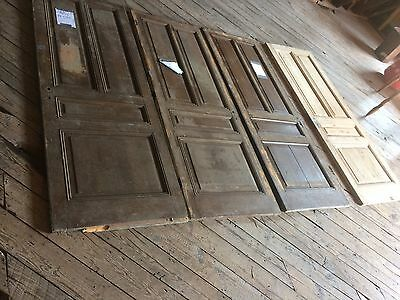 LOT Antique Wood Doors Architectural Salvage Trim  4 Panel set of 2 94x35 french