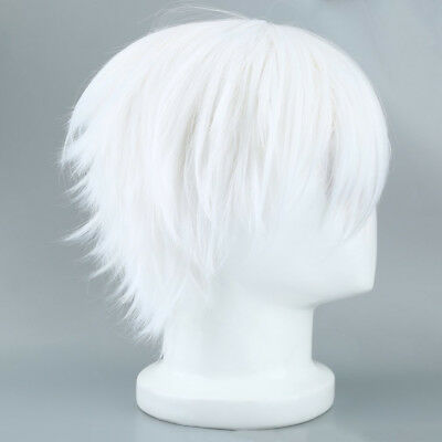 Tokyo Ghoul Cosplay Wig Short Straight Silver Gray Color Silk Synthetic Hair
