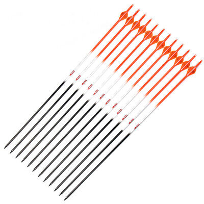 "12 X 31"" Carbon Arrows 2"" Fletch Orange Pattern Sp340 Compound Recurve Bow"