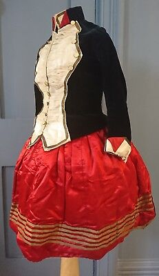 Superb Military Inspired Childs 1880s Bustle Dress - Victorian Antique Fashion