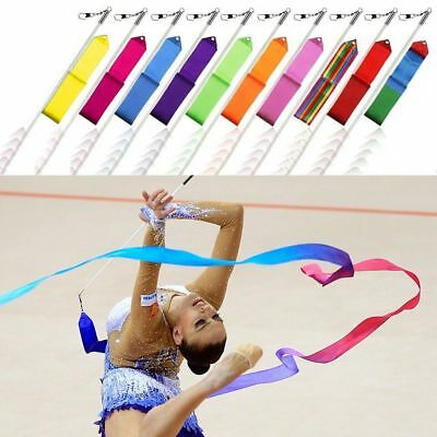 4m Rhythmic Gymnastics Ballet Art Ribbon Twirling Dance Streamer Rod Multi-color