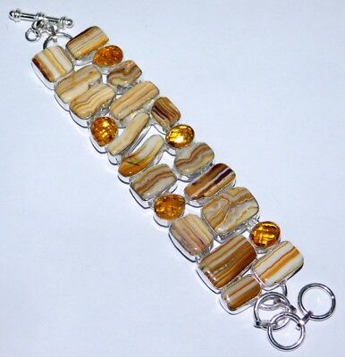Silver Plated Amazing Yellow Lace Agate Gemstone Bracelet V355