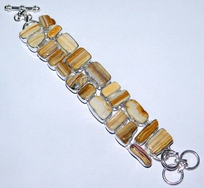 Silver Plated Amazing Yellow Lace Agate Gemstone Bracelet V357