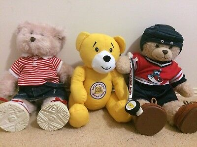 Build-A-Bear(BAB)x3 (With Accessories) Hockey Bear + Girl Bear + Signature Bear