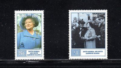 South Georgia & Sandwich Is 1990 90th Birthday Queen Mother SG 195/6 MUH