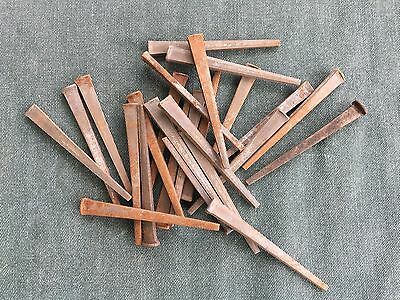 Lot of 25 Antique / Vintage Square Nails, Rustic Old Rusty Spike Nails