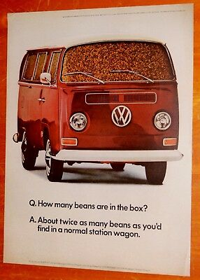1968 Volkswagen Bus Van How Many Beans In A Box Ad Vintage 60S Classic Vw Combi