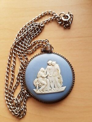 Wedgwood Jasperware.  Round pendant on silver chain