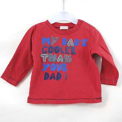 Baby Boys BHS Red Blue Long Sleeved Cool Dad Top Age 6-9 Months Fathers Day Gift