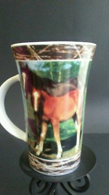 "Horse Mare with Foal Pictured Coffee Mug - For Horse Lovers- 6""T"