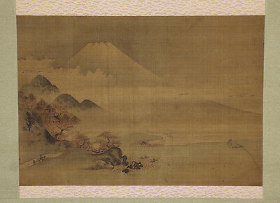 """JAPANESE HANGING SCROLL ART Painting Scenery """"Mt. Fuji"""" Asian antique  #E8974"""